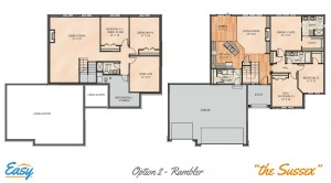 "Floor plans for the ""Sussex Rambler"" home design from Easy Duluth"