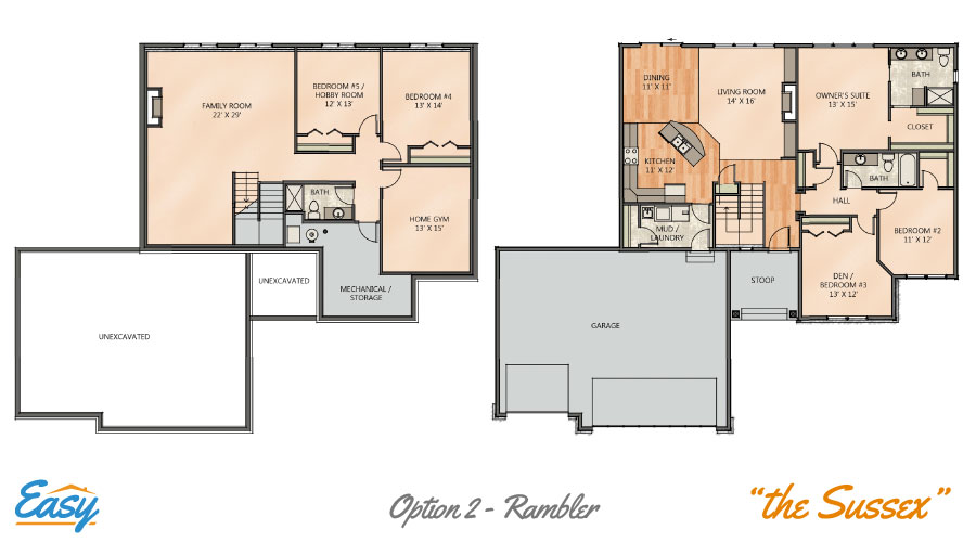 floor plans for the sussex rambler home design from easy duluth - Rambler Home Designs