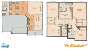 "Floor plans for the ""Cambridge"" home design from Easy Duluth"